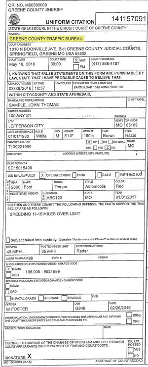 Missouri speeding ticket over 25 mph